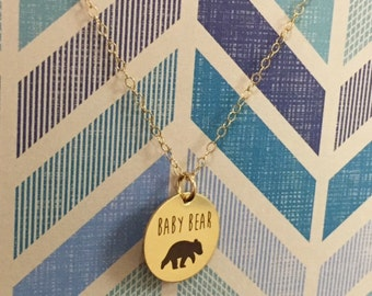 Baby Bear Necklace in Gold or Rose Gold, Gift For Mom, Gift for Daughter, Baby Shower, Child, Granddaughter