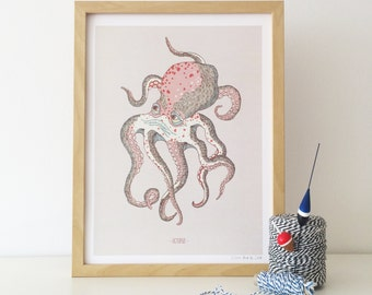 limited edition print illustration drawing (Octopus)