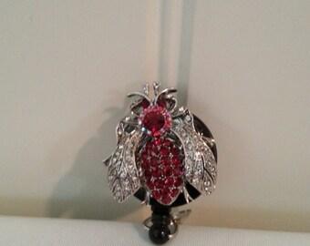 Red Bug Badge Holder