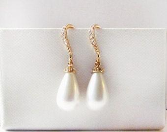 pearl drop earrings gold, drop pearl earrings, pearl teardrop earrings pearl wedding earrings, pearl bridal earrings, wedding jewelry