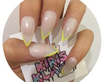 x On Point Neon x summer nude neon yellow tips false nails