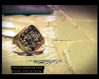 SOLD Pyrite and brass, Ring. Size 5 1/2