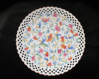 Vintage Lattice Edged Colorful Floral Flower Gold Trimmed Germany 53 China Plate