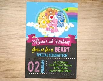 Care bears Birthday Invitation Chalkboard - Care Bears Invitation - Care Bears Invite - DIGITAL