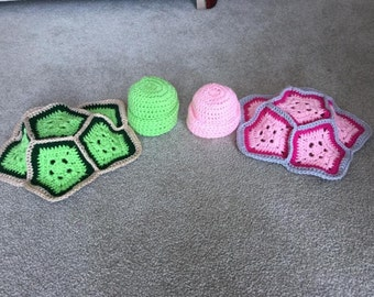 Crochet Newborn Turtle Shell and Hat