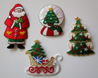 CHRISTMAS Embroidered Applique Patch Set~ Trees, Tall Santa Claus, Sled, Presents, Snow Globe, Candles