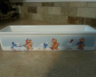 Holiday serving dish with bears and geese