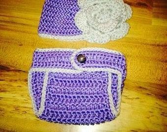 Crochet Infant Flower Diaper Cover Set