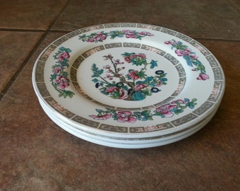 Good Quality Vintage 1960's Fine Earthenware Lord Nelson Ware Luncheon or Salad Plates in the Indian Tree Pattern, Set of 3, Very Pretty