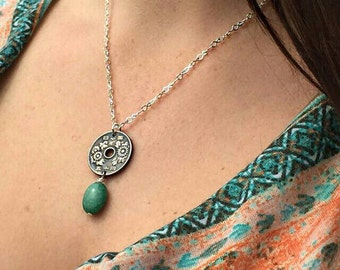 Floral Adorned Japanese Coin and Jade Necklace