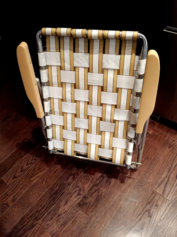 6 Chair Patio Set Cover: Vintage Aluminum Folding Lawn Chair Webbed Lounge Chair Patio