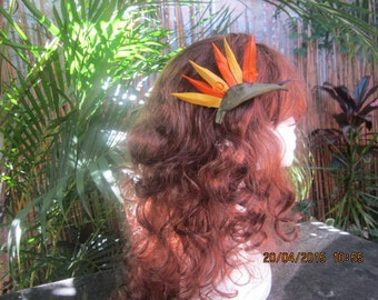 Bird of Paradise Kangaroo Leather Hairclip