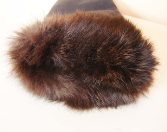 Rare Vintage Men's Leather Glove /Only one/ of Fabric and Leather Mink, Russian Warm Glove, Decoration