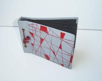 Vintage Pocket gray vinyl  Leather  Album Pictures, Retro Photo Album, Vintage  Photos Cover, Gray with red elements photo album