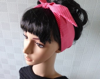 Pink polka dot dolly bow hair scarf headband or neck scarf with a retro rockabilly vintage retro style rock and roll theme