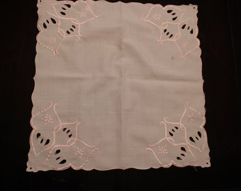 Pale Pink Square Doily or Hanky