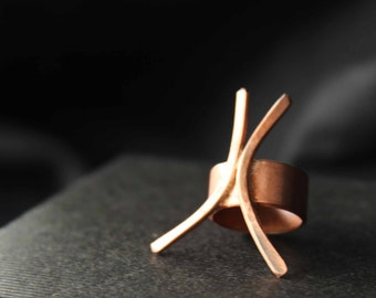 "Copper ring ""X"" size 6"