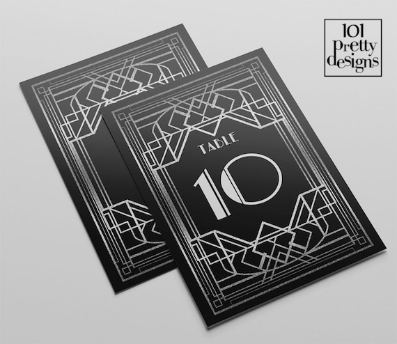 art deco wedding table cards printable table numbers templates