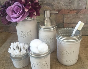 Mason Jar Bathroom Set of Five