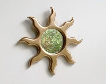 Gold Sun Mirror, Sun Mirror, Small Sun Mirror, Decorative Wall Mirror, Gold Mirror, Mirror, Sunburst Mirror, Fiery Sun,