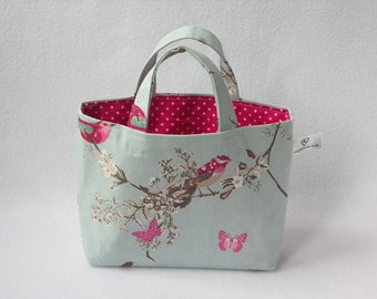 Child/mini Handbag - duck egg blue cotton fabric with birds and butterflies