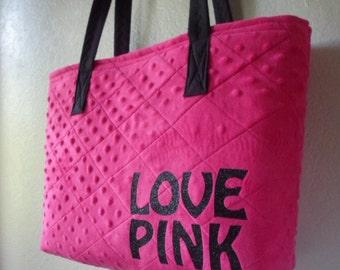 pink tote bag \ large handbag\ minky fabric