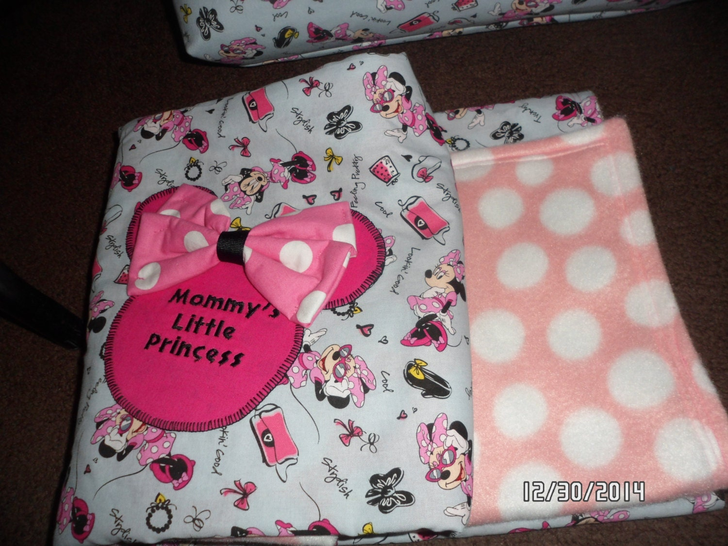 minnie mouse baby blanket by ChiquitasBags on Etsy