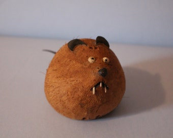 SALE Vintage Folk Art Coconut Rat Handmade