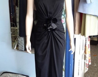 Vintage 1980s Black flower, sleek black gown, thin strapped, tailored-like cut.