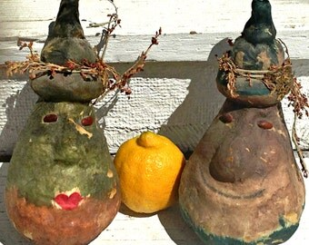 Two Painted Gourds with Cute Faces