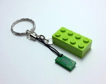 """Key Lego """"ticket"""" - Lego keychain """"100 dollar bill"""""""