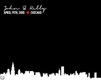 Chicago Wedding Gift | Chicago Skyline Wedding Gift | Chicago Skyline | Chicago | Personalized For Couples  > 8X10 - Digital Download