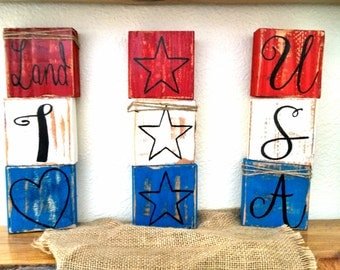 Handmade American block letters, Rustic American blocks, red, white and blue home decor, rustic home decor, Americana home decor, photo prop