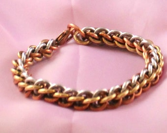 Gold & Silver Chainmaille Bracelet - Aluminum, Brass, Copper - JPL3 - Chainmail Jewelry