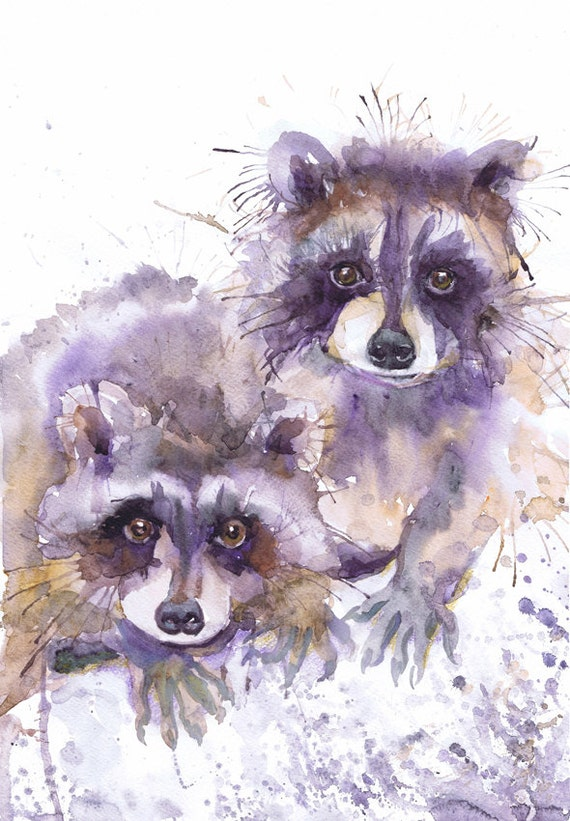 Raccoon painting watercolor valentine art fine art prints Raccoon Painting