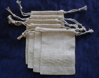 "50 pieces of linen cloth bags with linen lace and linen twine, the size of 3"" x 4"""