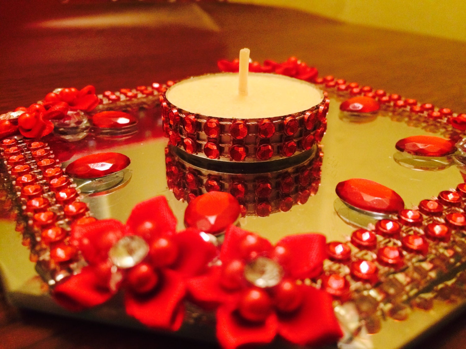 Mirror Kundan Rangoli / Diwali Diya / Diya / Decorative Candle