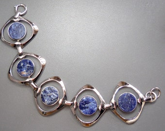 Modernist 1970s space age bracelet, lapis lazul sterling silver, signed