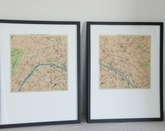 Framed SET OF 2 1938 Paris France Vintage Maps