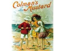 Colmans Mustard English Beach Vintage Advertising Enamel Metal TIN SIGN Wall Plaque
