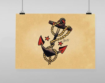 Anchor Sailor Jerry  - Vintage Reproduction Wall Art Decro Decor Poster Print Any size