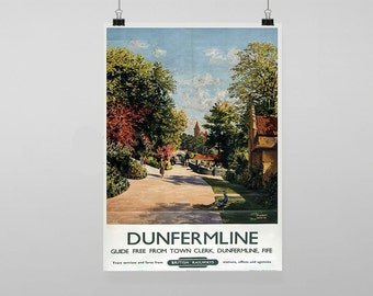 Dunfermline Britsh Railways Rail Train Station - Vintage Reproduction Wall Art Decro Decor Poster Print Any size