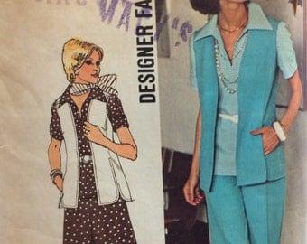CLEARANCE!!  Simplicity 6336 misses top, vest, pants & skirt Designer Fashion size 14 bust 36 waist 28 vintage 1970's sewing pattern  Uncut