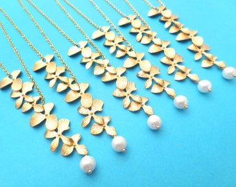Set of 1-10, Personalized, Pearl, Triple, Orchid, Lariat, Cascade, Flower, Gold, Silver, Necklace, Sets, Wedding, Baby shower, Gift