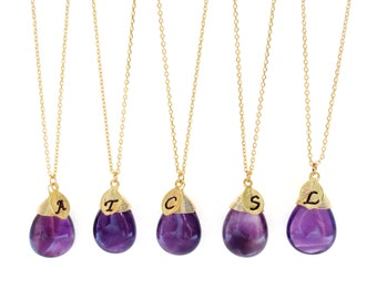 Set of 1-10, Personalized, Letter, Initial, Purple, Amethyst, Gold, Necklace, Sets, Wedding, Bridesmaid, Bridal, Gift, Jewelry