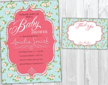 Shabby Chic Vintage Baby Shower Invitation, Thank You Card, Rose Baby Shower Invite, Cottage Chic