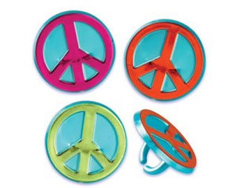 Peace Sign Cupcake Rings