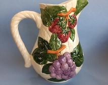 "10"" Fruit du Jour Shafford Majolica  Pottery Pitcher Jug Juice Water"