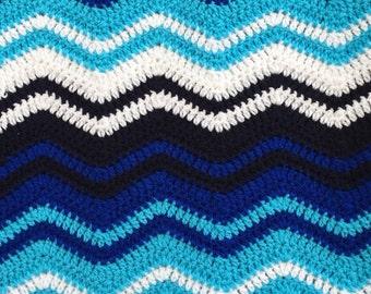 Blue Ripple Crochet Baby Blanket