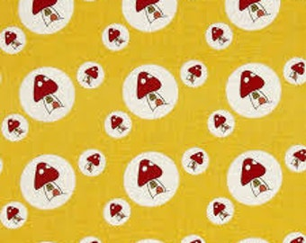 Lecien Woodland Toadstool Yellow 30407 - 50   Sold By The 1/2 Yard